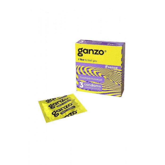 Презервативы Ganzo Sense для большей чувствительности  - 3 шт