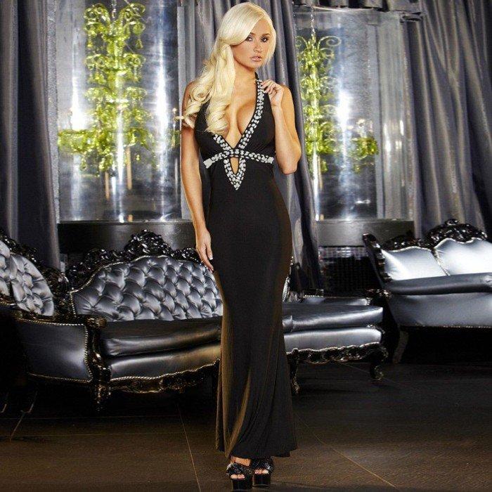 Вечернее длинное черное платье Hustler