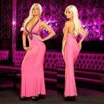 Вечернее розовое длинное платье