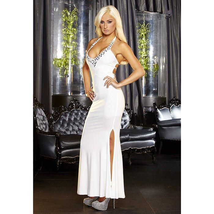 Вечернее длинное белое платье с разрезом от Hustler
