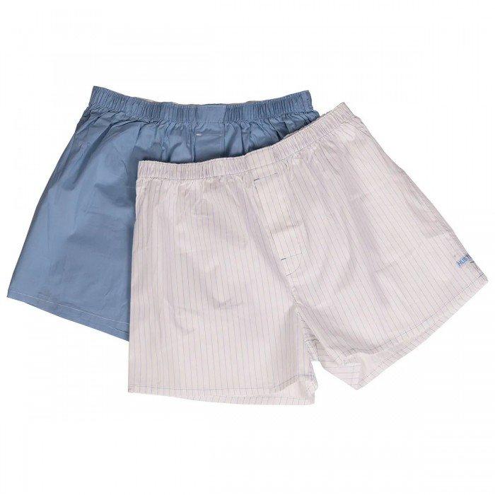 Мужские хлопковые трусы-шорты HUSTLER, голубые и белые