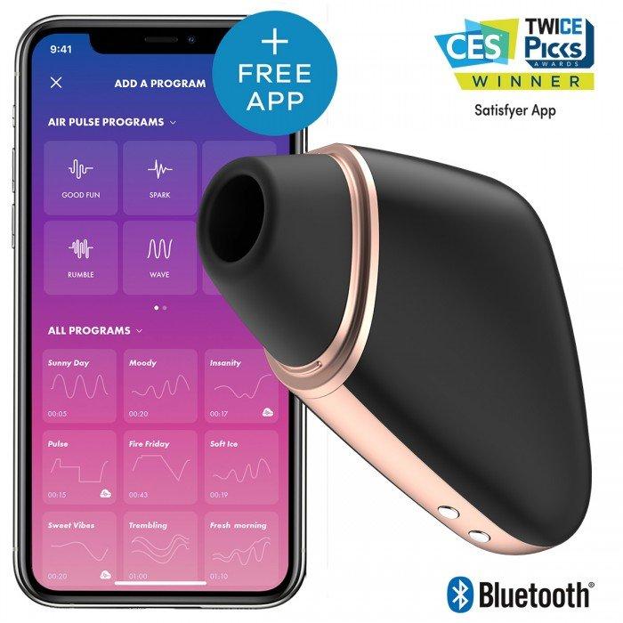 Вакуумно-волновой вибростимулятор Satisfyer Love Triangle с управлением со смартфона - чёрный