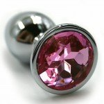 Алюминиевая анальная серебристая пробка Kanikule Medium с нежно-розовым кристаллом - 7 cм