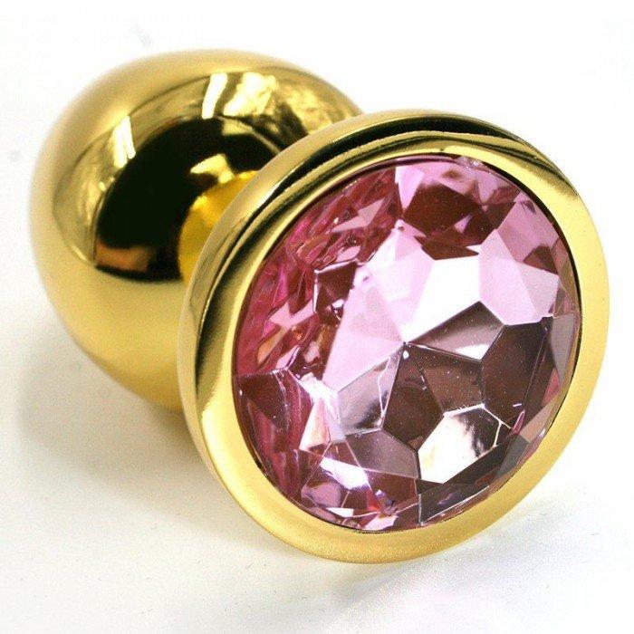 Алюминиевая анальная золотая пробка Kanikule Small с нежно-розовым кристаллом - 6 cм