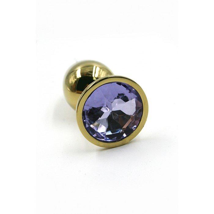 Алюминиевая анальная золотая пробка Kanikule Small с фиолетовым кристаллом - 6 cм