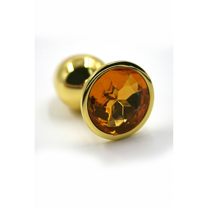 Алюминиевая анальная золотая пробка Kanikule Small с жёлтым кристаллом - 6 cм