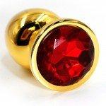 Алюминиевая анальная золотая пробка Kanikule Small с красным кристаллом - 6 cм