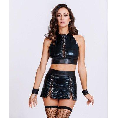 Соблазнительный костюм Рабыни из материала WetLook - черный
