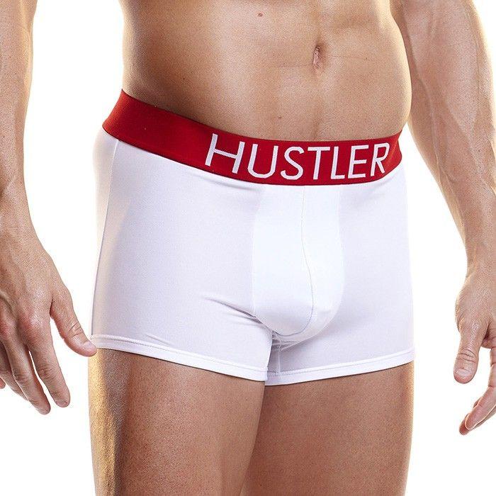Белые мужские боксеры HUSTLER на широкой резинке из микрофибры