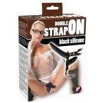 Двойной страпон c вагинальной пробкой Double Strap-On Black Silicone