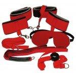 BDSM-набор подневолья из неопрена для страстных игр Bad Kitty Red Giant - 8 предметов - красно-чёрный