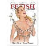 Зажимы для сосков с двойной цепочкой Rock Hard Nipple Clamps - серебристые