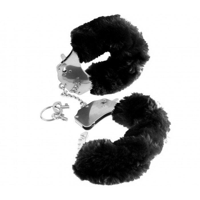 Наручники металлические Furry Love Cuffs с мехом, черные
