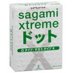 Ультратонкие латексные презервативы с точками Sagami Xtreme Type-E Dotted 0,04 мм - 3 шт