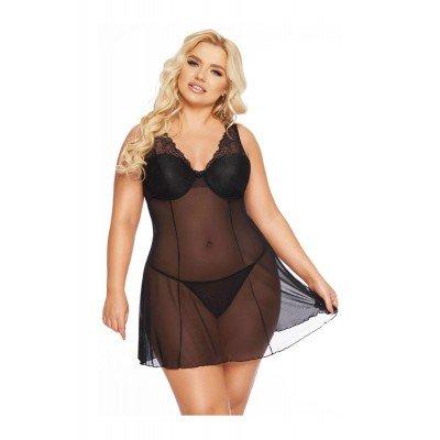 Полупрозрачная сорочка Berta SoftLine Collection - чёрная
