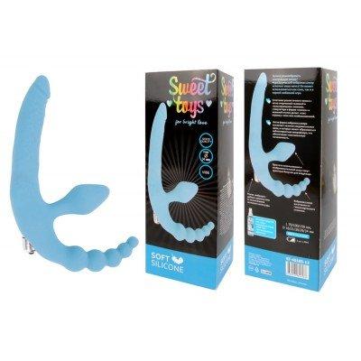 Безремневой страпон с анальным отростком и вибрацией Sweet Toys - голубой