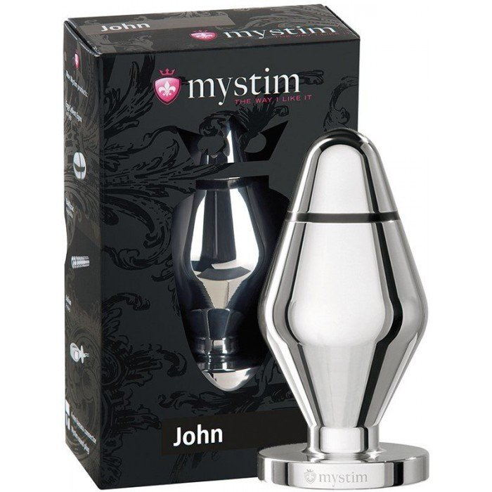 Анальная втулка для электростимуляции MyStim John размера L - 10,5 см