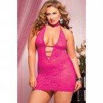 Ажурное розовое платье с глубоким декольте
