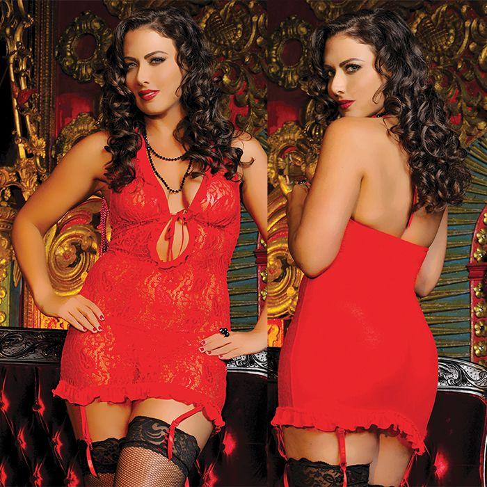Гипюровое красное платье с завязками на груди