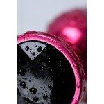 Анальная металлическая пробка Metal by ToyFa цвета фуксия с кристаллом цвета турмалин - 7,2 см