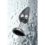 Анальная металлическая пробка Metal by ToyFa с кристаллом цвета турмалин - 7,2 см