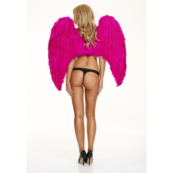 Большие розовые крылья из натуральных перьев FANTASY DREAM WB-PNK