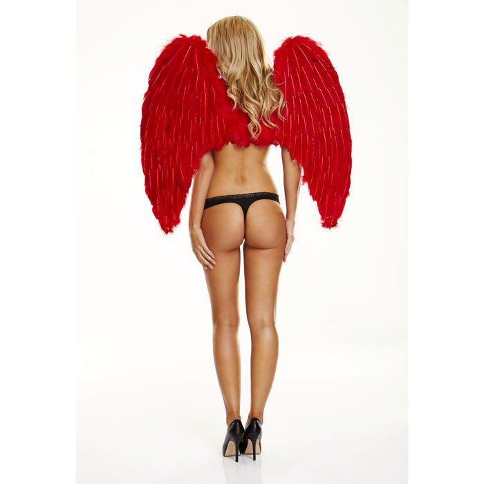 Большие красые крылья из натуральных перьев RED LOVE WB-RED
