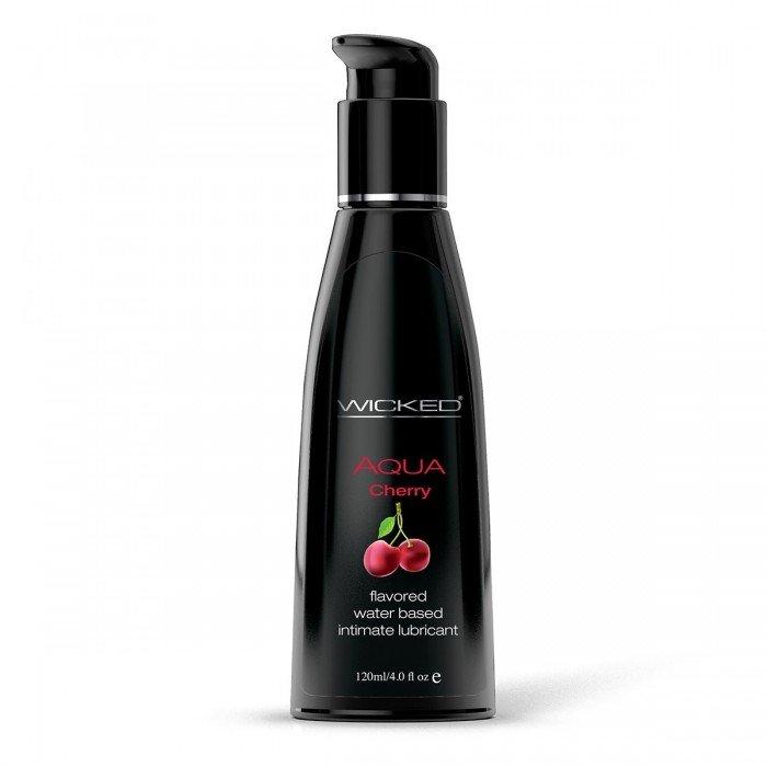 Лубрикант со вкусом сладкой вишни WICKED Aqua Cherry - 120 мл