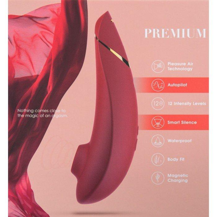 Бесконтактный вакуумный клиторальный стимулятор Womanizer Premium - красный с золотым