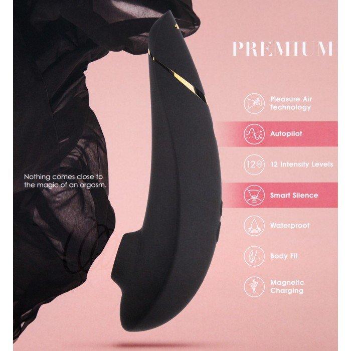 Бесконтактный вакуумный клиторальный стимулятор Womanizer Premium - чёрный